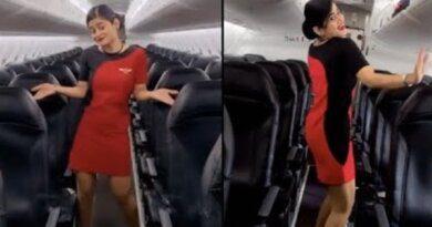 Индийская стюардесса танцует в пустом самолете: видео