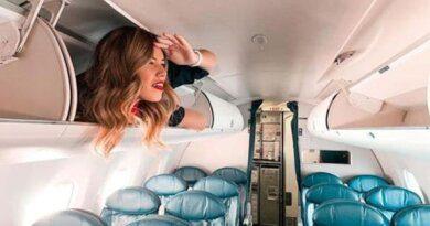 Стюардессы в мини-юбках массово залезли на багажные полки
