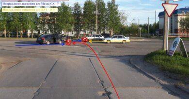 Три автоледи не поделили дорогу в Усинске