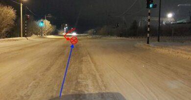 В Усинске водитель Mitsubishi спровоцировал на перекрестке аварию