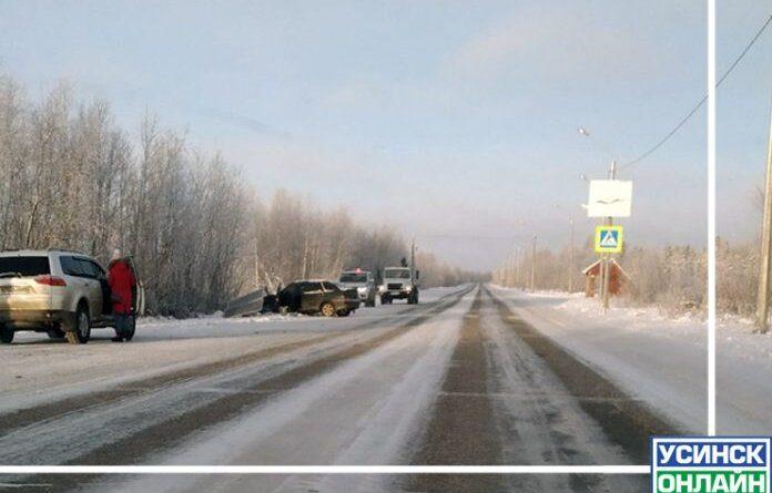 Вчера на дороге Усинск – Парма сбили дорожный знак с солнечными батареями
