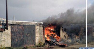 Вчера в Усинске горел гараж