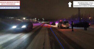 Вечер в Усинске отметился ДТП с пострадавшим